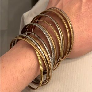 Jewelry - Set of 15 gold and silver bangles